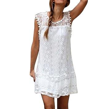 LILICAT Vestido Corto de Encaje de Mujer Elegante Mini Vestido Casual Borla sin Mangas, Vestido