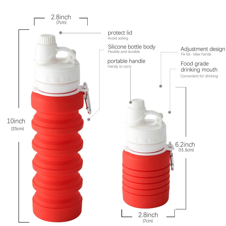 Wolecok Botella de Agua de Viaje Plegable de Silicona port/átil a Prueba de Fugas para Deportes se Puede encoger Cuando est/á vac/ía 800 ml