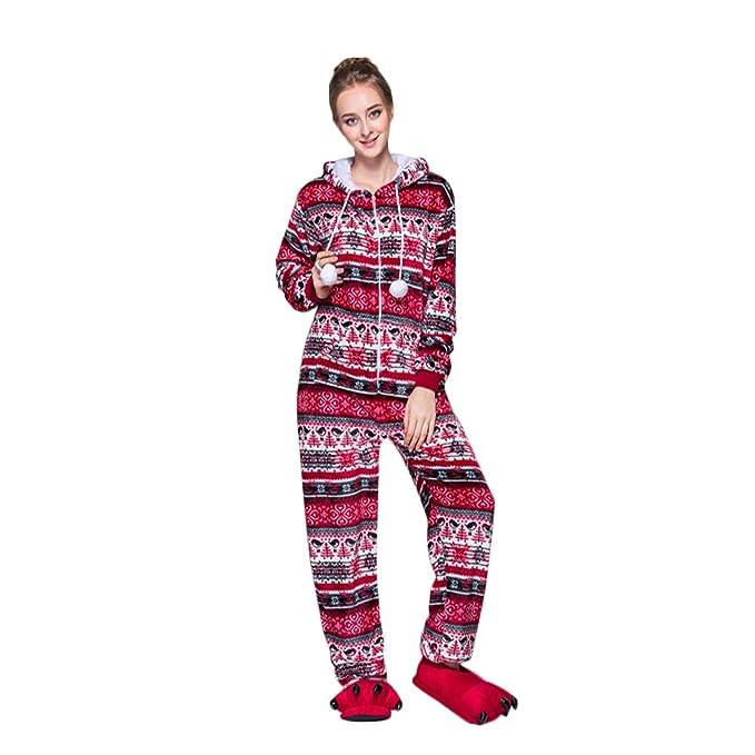 FeelinGirl Suave Cálido Acogedor Invierno Franela Conjunto de Pijama Ropa de Dormir para Mujer Rojo S