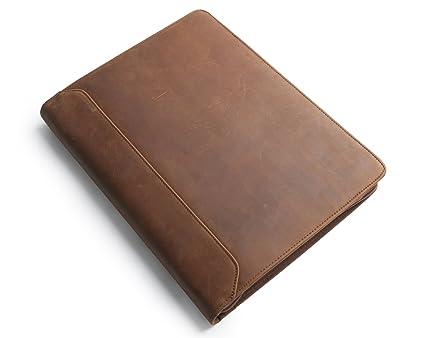 24b03c1935bf Coface Crazy-Horse Leather Portfolio 3 ring Binder, Multi-function  Professional Padfolio, Business Folder/Case, Document Organizer Holder with  Zipper ...