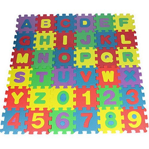 Premewish Educational Toys Alphabet Letters Puzzles Jigsaws Floor Tiles Camping Mat Blanket for Childrens Baby Palying IQ Brain Teaser