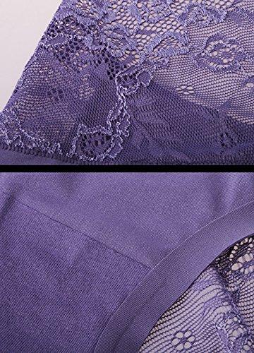 Ropa interior respirable de las señoras atractivas del algodón del cordón (2 cargadas) ( Color : 18 , Tamaño : XXL ) 4