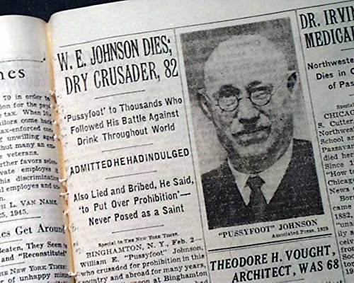 PUSSYFOOT JOHNSON William E. Prohibition Anti Alcohol Head DEATH 1933 Newspaper THE NEW YORK TIMES, February 3, (William Leader Head)