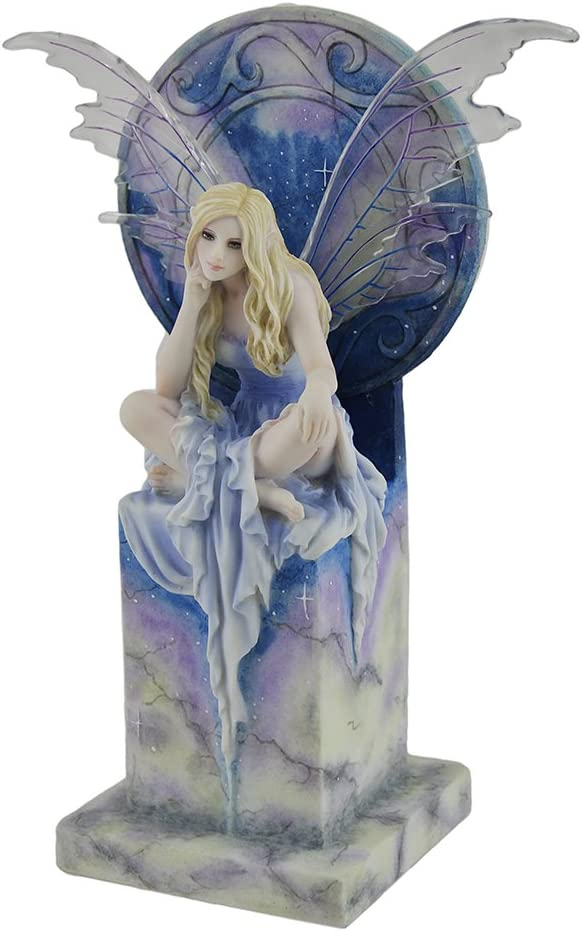 Resin Statues Shimmer By Selina Fenech Blue Sky Fairy Perched On Marble Thrown Statue 6.25 X 9 X 3.5 Inches Light Blue