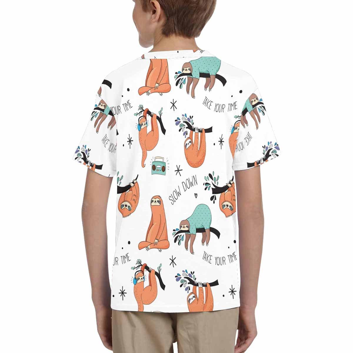 INTERESTPRINT Kids T-Shirts Cute Sloths XS-XL