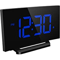 Mpow Digital Alarm Clock, Curved-screen Clock with 3.75'' LED Dimmer Display, Bedside Alarm Clock with 3 Alarm Sounds, 30 Minute Ring Time, 12/24 Hour, Backup Function