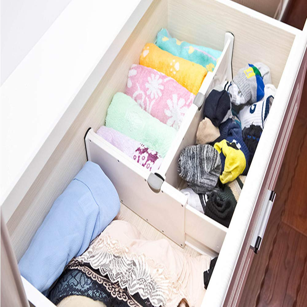 Office Closet Dresser Bathroom MIGHTDUTY Drawer Drawer Dividers 4 High Expandable from 11-17 Expandable Drawer Organizers with Anti-Scratch Foam Edges for Bedroom Kitchen Storage
