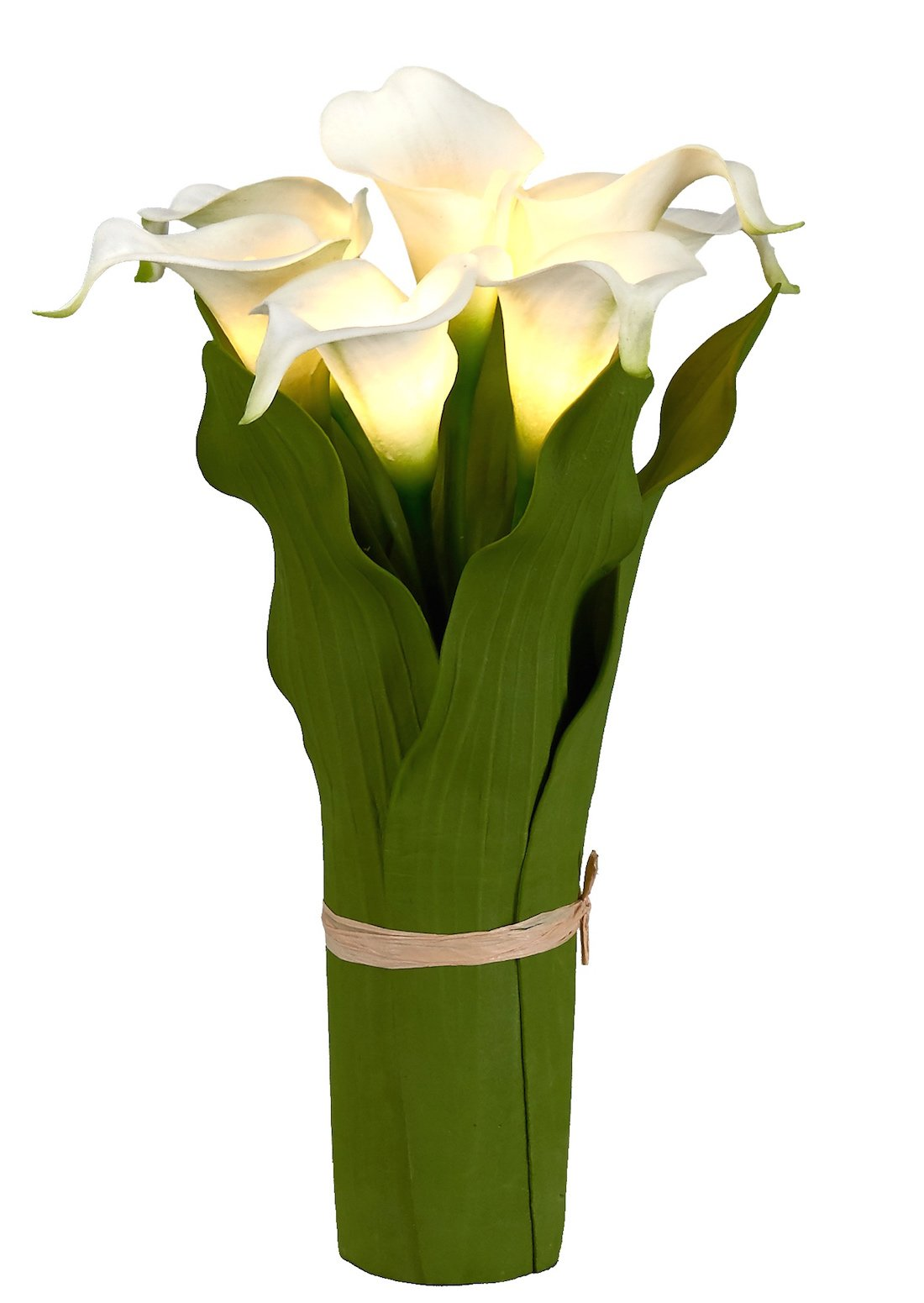 Homeseasons LED Lighted Artificial Flower Arrangement-Battery Operated 7 Heads Calla Lily Light with Green Leaves (White)