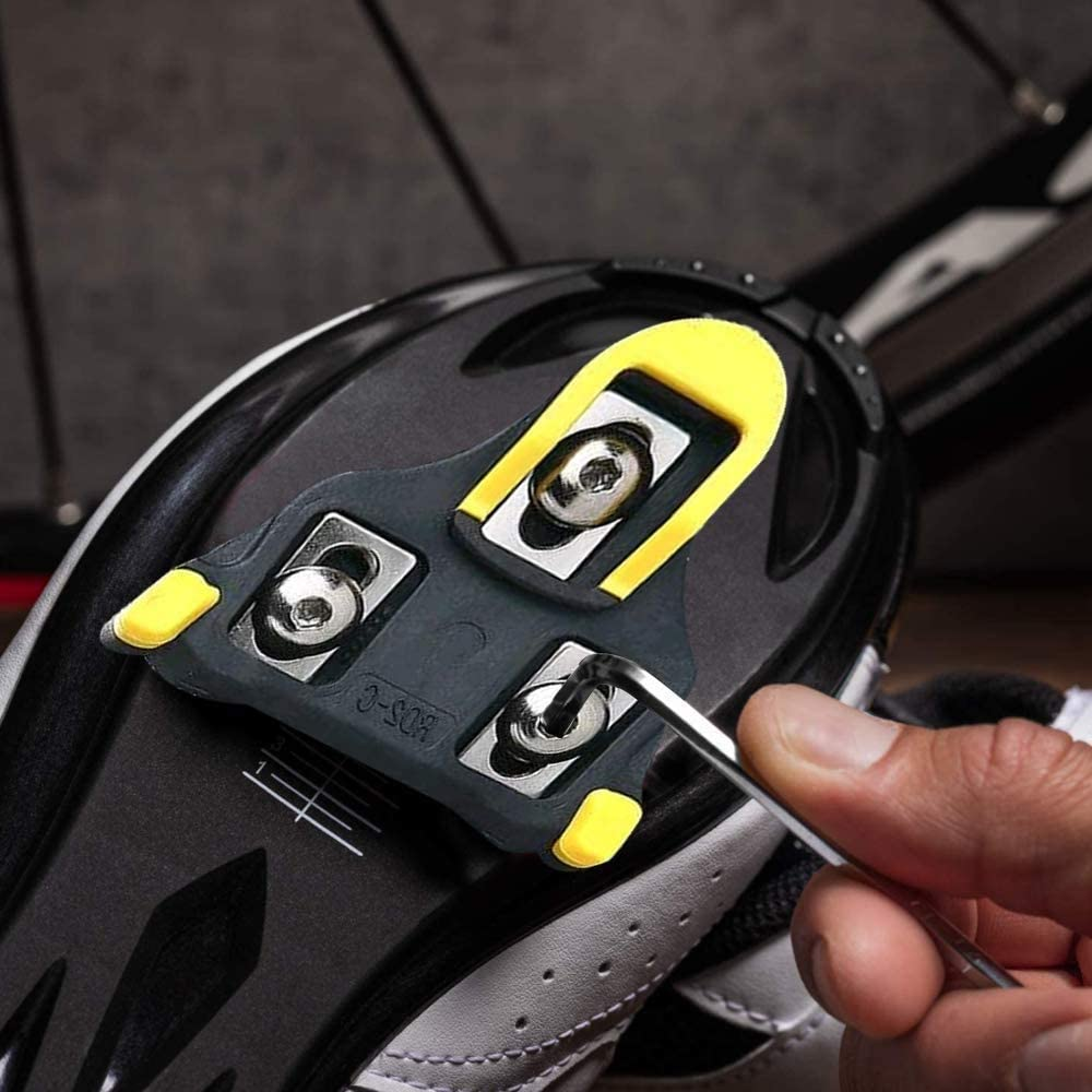 KINDPMA Bike Cleat Outdoor Road Cycling Bicycle Cleat Set SPD Cleats Compatible with Spinning Clipless Cycle Shoe for Indoor Cycling Outdoor Road Cycling Mountain Biking Yellow