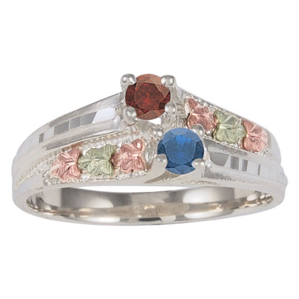 Black Hills Gold Silver Birthstone Ring
