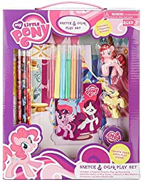 My Little Pony Sketch & Color Play Set With 2 Figurine Erasers