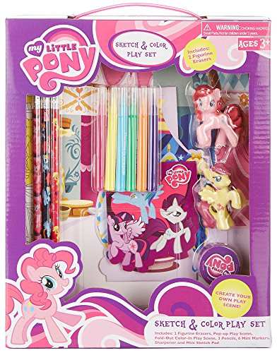 My Little Pony Sketch & Color Play Set With 2 Figurine Erasers (Figurine Pony Own)
