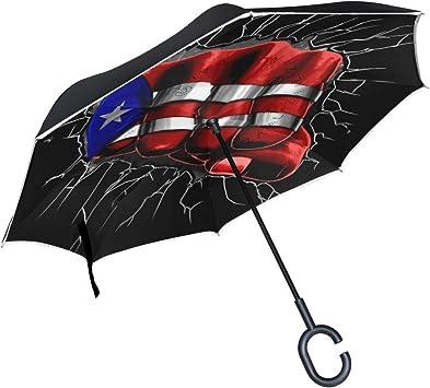 Car Reverse Folding Umbrella Inverted Umbrella with Cricket American Flag Print