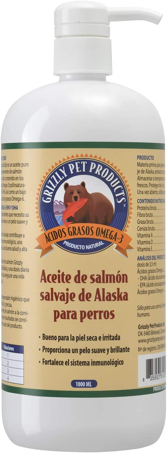 Natural Greatness Aceite de Salmón Salvaje de Alaska Grizzly. Producto Natural Puro para su Mascota (1000 ml)