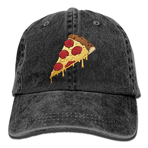 Suaop Salami Pizza Slice Unisex Vintage Washed Distressed Cotton Hat Visor Baseball Cap Polo Style Black