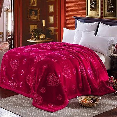 BDUK Encajes Raschel doble gruesa manta mantas rojas bordadas de Bodas INVIERNO manta de algodón y mantas de Doble ...