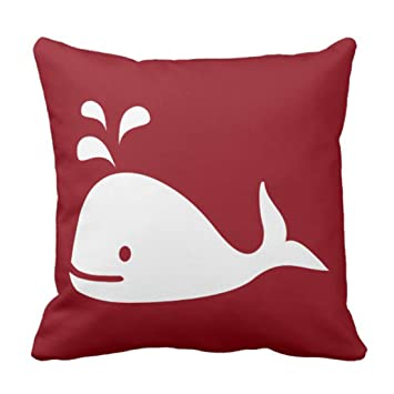 Amazoncom Emvency Throw Pillow Cover Whale Nautical In Crimson Red