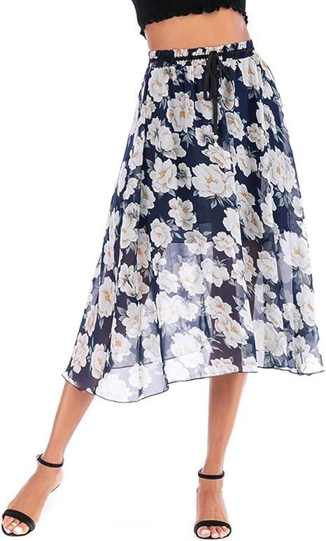ANFitness Falda Maxi de Gasa para Mujer Estampado Floral con Forro ...