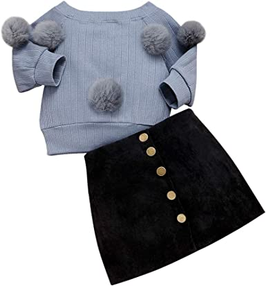 2PCS Infant Baby Girls Long Sleeve Sweatshirt with Cute Balls Strap Pencil Skirt Outfits Set