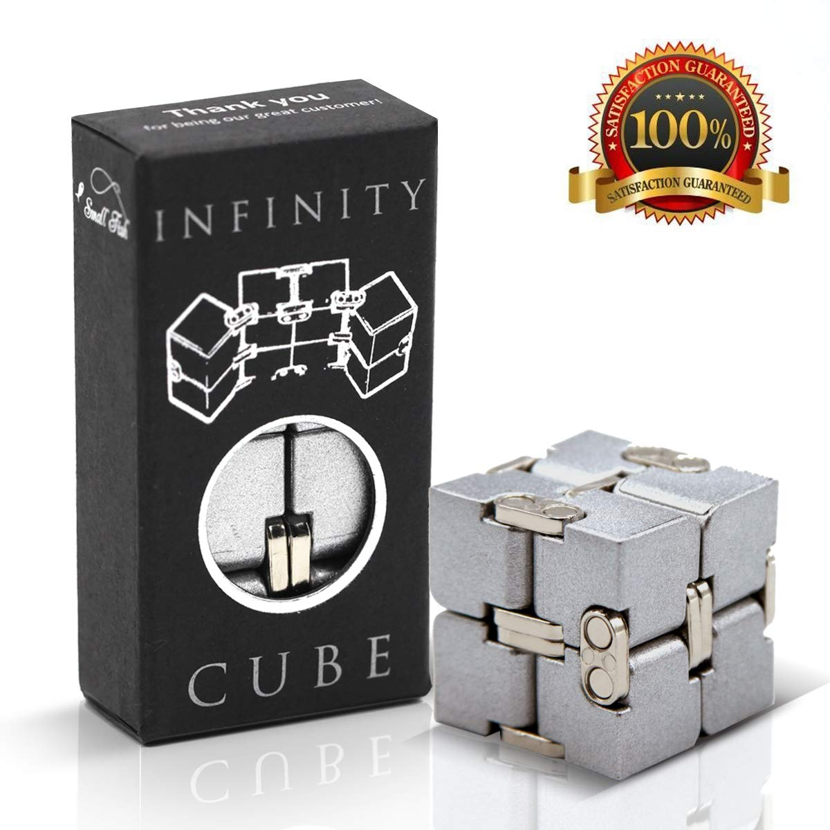 Fidget Cube Infinity Toy Gadget in Metal Aluminum for Kids, Teens, and Adults, Best Anxiety and Stress Relief Sensory Fidgeting Game, Ideal and Cool Gift Puzzle for Boys and Girls by SMALL FISH