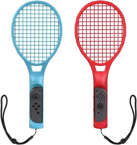 Raqueta de Tenis para Nintendo Switch Joy Con, Raqueta de Tenis Joy-Con para Mario Tennis Aces y Los Juegos de Raqueta Switch (2 PACK, Rojo/Azúl): Amazon.es: Videojuegos