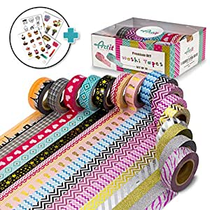 ARTIT Washi Tape Set 16 Extra Long (33 Foot) Decorative Rolls Craft Duct Masking Tapes Scrapbooking DIY Gift-Wrapping Glitter Patterned Solid Ultra Sticky Adhesive Includes 4 Bonus Sticker Pages