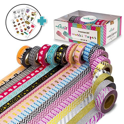 ARTIT Washi Tape Set 16 Extra Long (33 Feet) Decorative Craft Duct Masking Rolls Kit Scrapbooking DIY Foil Glitter Patterned Solid Colored Gold Sticky Adhesive Includes 4 Bonus Sticker Pages by ArtIt