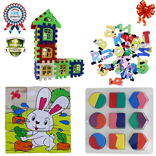 Baby Building Cube Block Jigsaw Puzzles Letter House Kids Magnetic Numbers Letters Alphabet A to Z Fun Bright Refrigerator Magnet 4 Pack