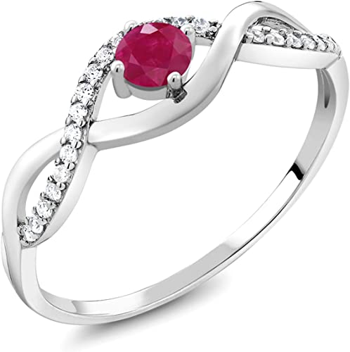 Women Fashion Silver Filled Red Ruby Gemstone Ring Size 7 Wedding Jewelry New
