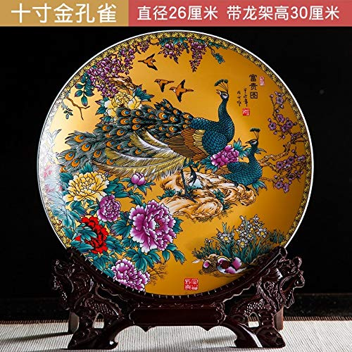 Decorative Plate with Dragon Shaped Stand, Chinese Vintage Gold Peacock Birds and Flowers Colorful Painting, Handmade White Ceramic Art Decoration Ornament Plates for Display Living Room Table Decor
