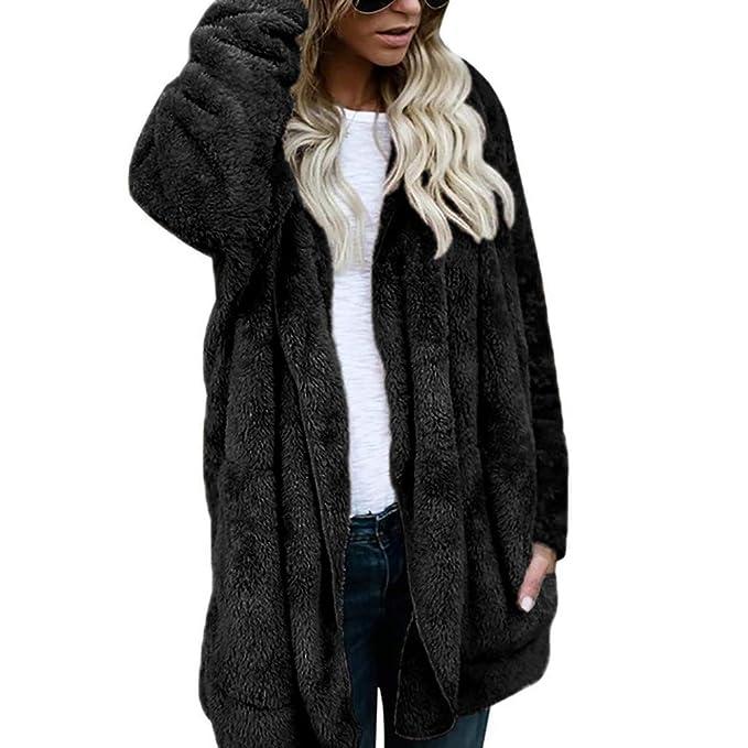 UK Women Winter Fluffy Jacket Coat Outwear Cardigans Hooded Zip UP Pocket Jumper