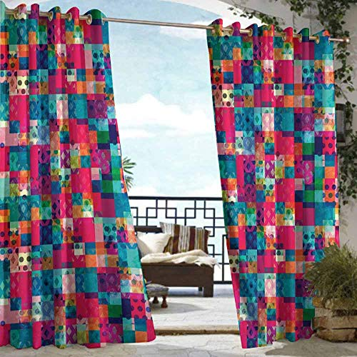 DILITECK Outdoor Waterproof Curtain Geometric Fashion Themed Italian Grunge Modern Color Contrast Squares with Dots Artwork for Patio/Front Porch W108 xL84 Multicolor