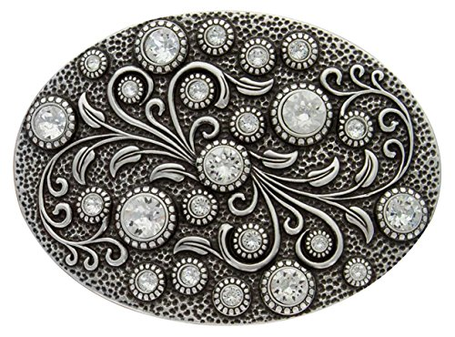 Buckle Silver Antique (Antique Silver Oval Engraved Crystal Rhinestone Belt Buckle)
