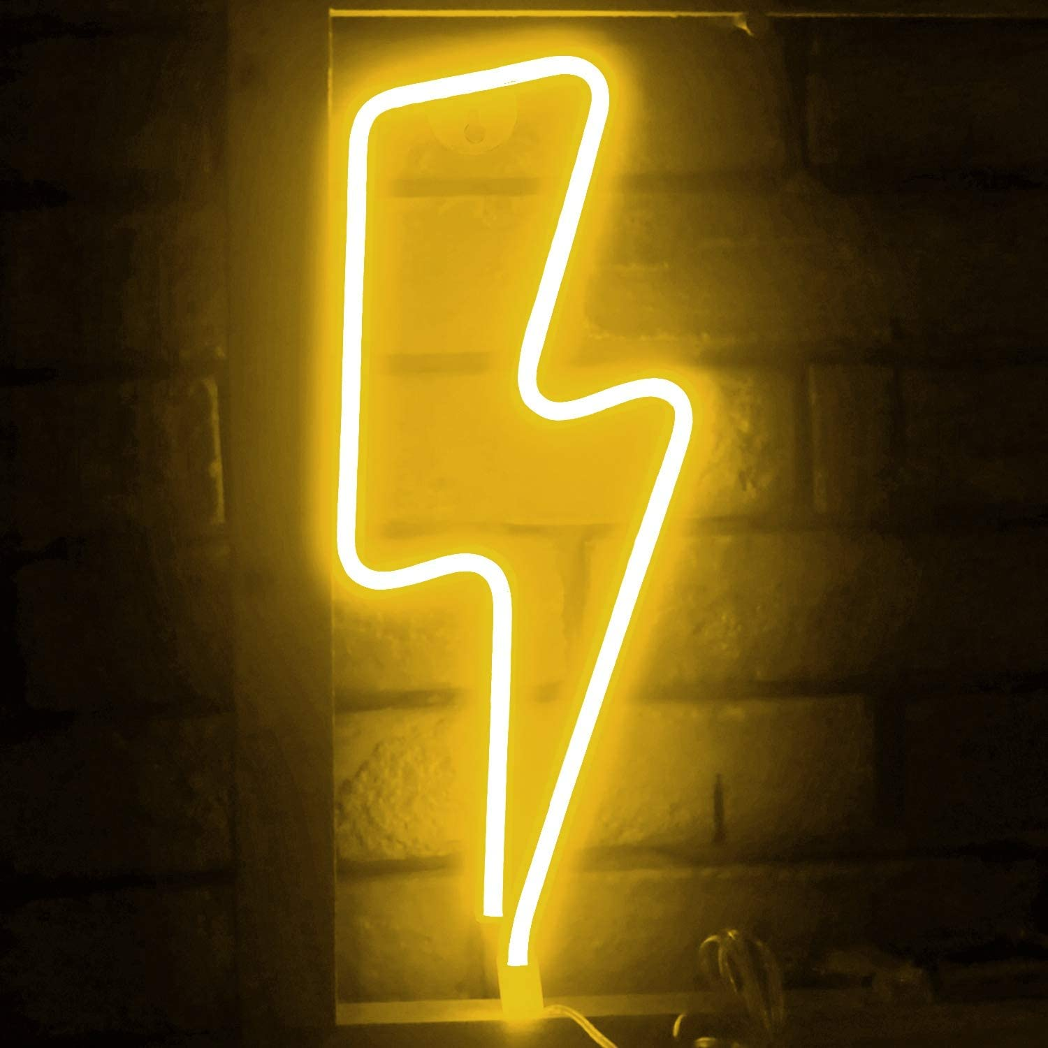 Funpeny LED Neon Decorative Light, Neon Sign Shaped Decor Light, Lightning Shape Indoor Decor for Halloween Decoration Living Room, Birthday Party, Wedding Party (Warm White)