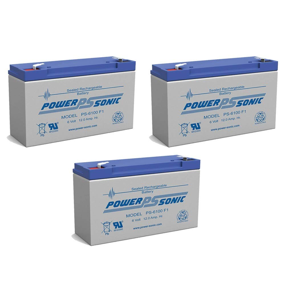 PS-6100 6V 12AH F1 Rechargeable Battery - 3 Pack by Power-Sonic