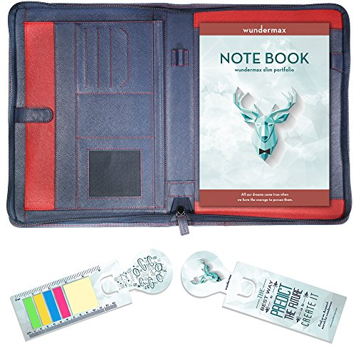 Wundermax Portfolio Padfolio Leather Zippered