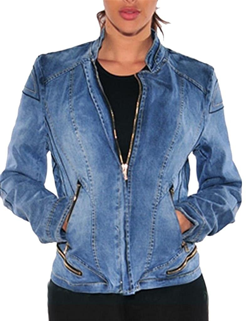 bluee as Picture Klorim Womens Washed Stretch Denim Short Jackets