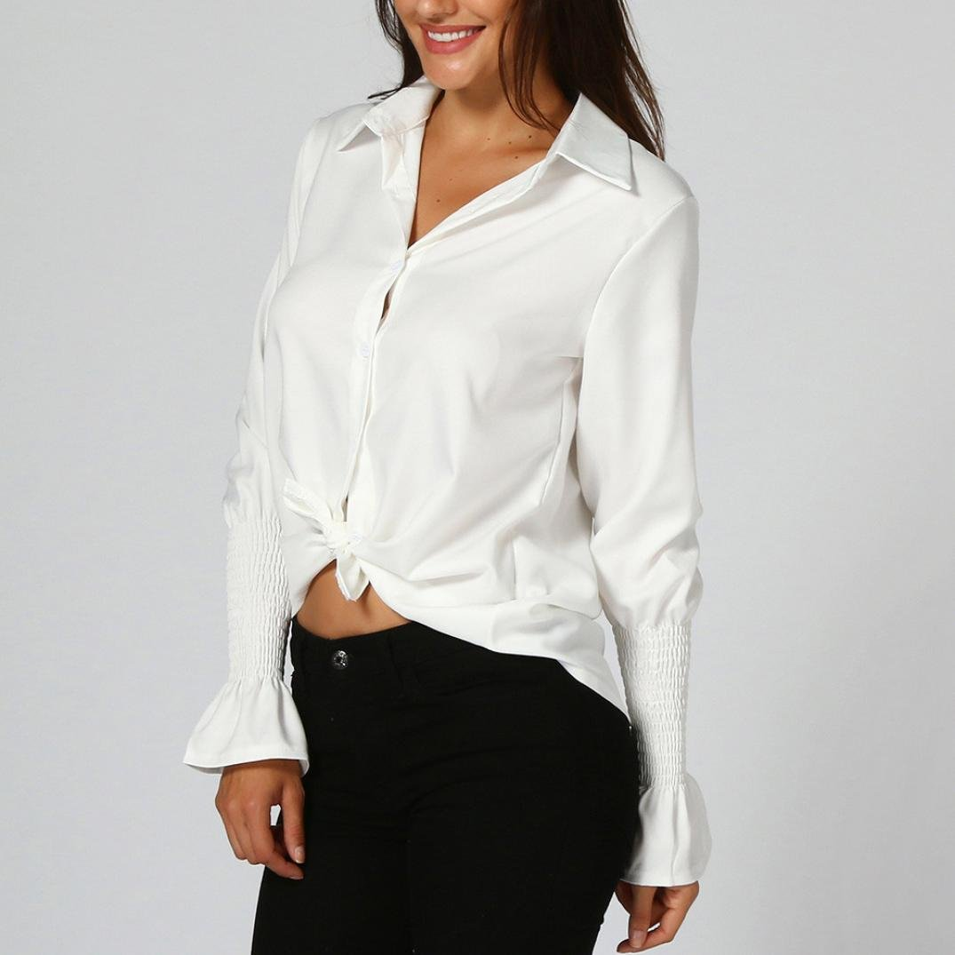 Corsion Women Solid Flare Long Sleeve Shirt White Collar Office Top T Shirt
