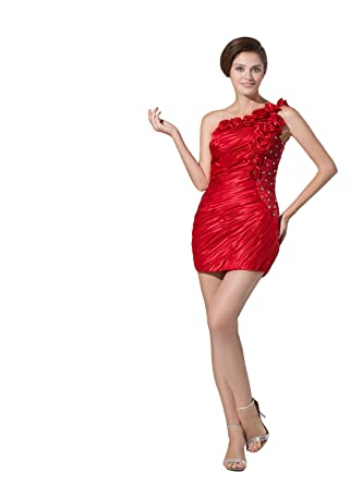 Angel Formal Dresses Womens One Shoulder Bodycon Short Mini Dress (2, ...