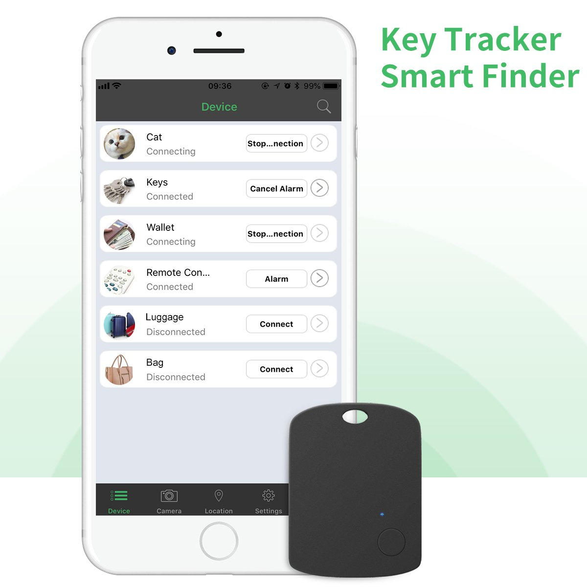 Key Finder, CC-Show Wireless GPS Phone Locator, Smart Wallet Tracker, Anything Anti Lost Alarm with Selfie Shutter/Remote Control for iOS/Android App, Shield Shape (Black)