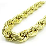 "10K Yellow Gold Rope Chain Diamond Cut Chain Pendent Necklace 4 MM, 18"" to 24"""