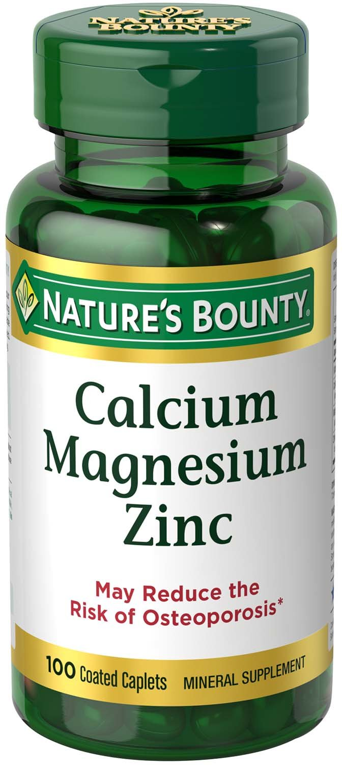 Nature's Bounty Calcium Carbonate Pills with Magnesium and Zinc Mineral Supplement, Supports Bone Strength and Health, 1000mg, 100 Caplets