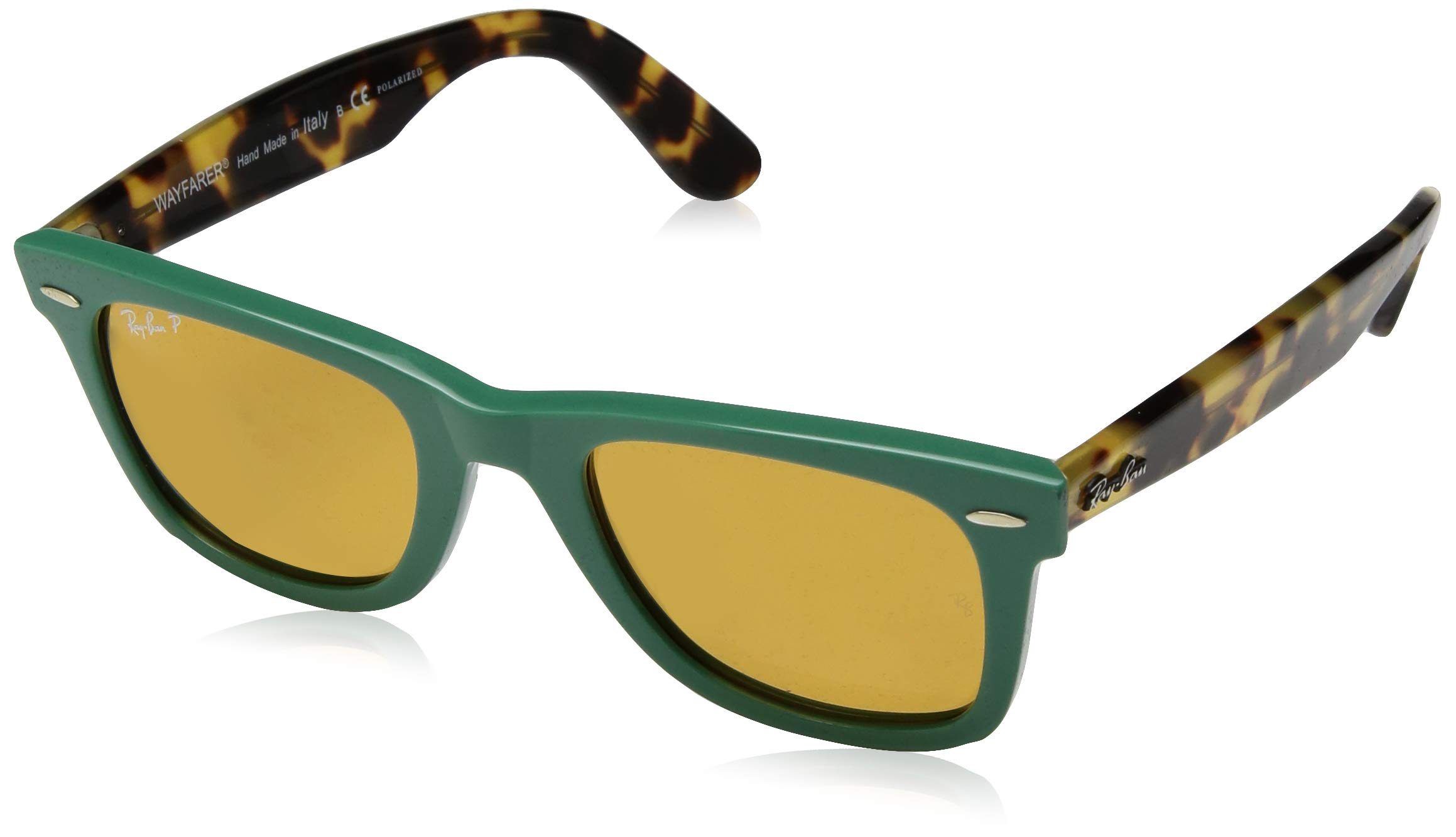 Ray-Ban RB2140 Wayfarer Sunglasses, Green/Polarized Yellow, 50 mm by RAY-BAN