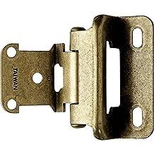 "Partial Wrap 1/4"" Overlay Hinges - Antique Brass - pair"