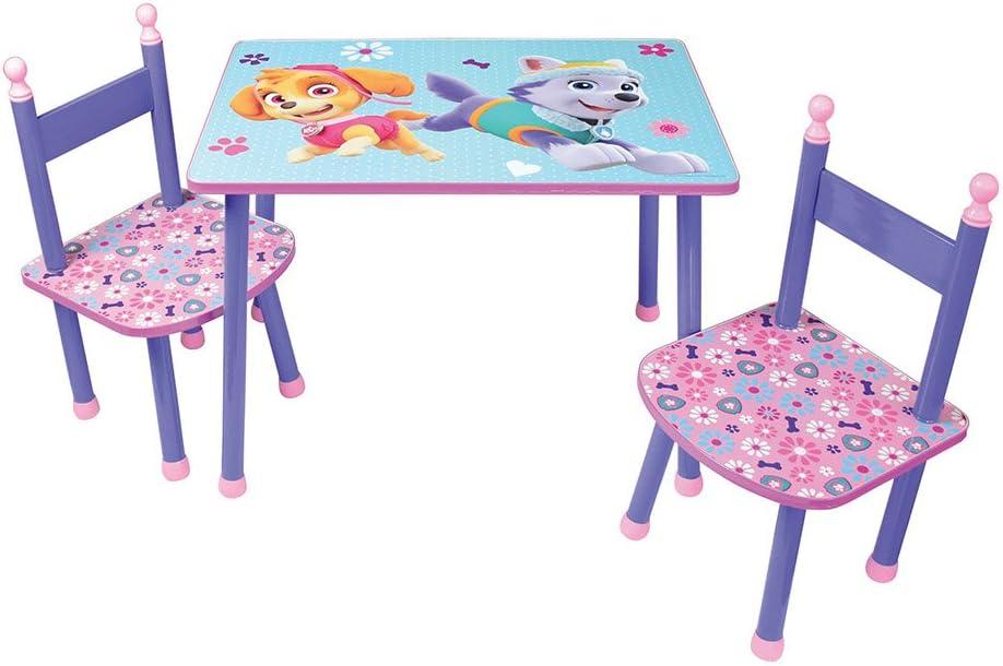 60 x 40 x 44 cm CIJEP 712744 MDF//Métal FUN HOUSE PATPATROUILLE Fille Table avec 2 Chaises pour Enfant