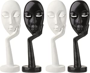Creative and Abstract Woman Face Statues, Thinking Lady Sculpture Handmade Carving Figurine Home Office Bedroom Living Room Study Room Studio Decorations