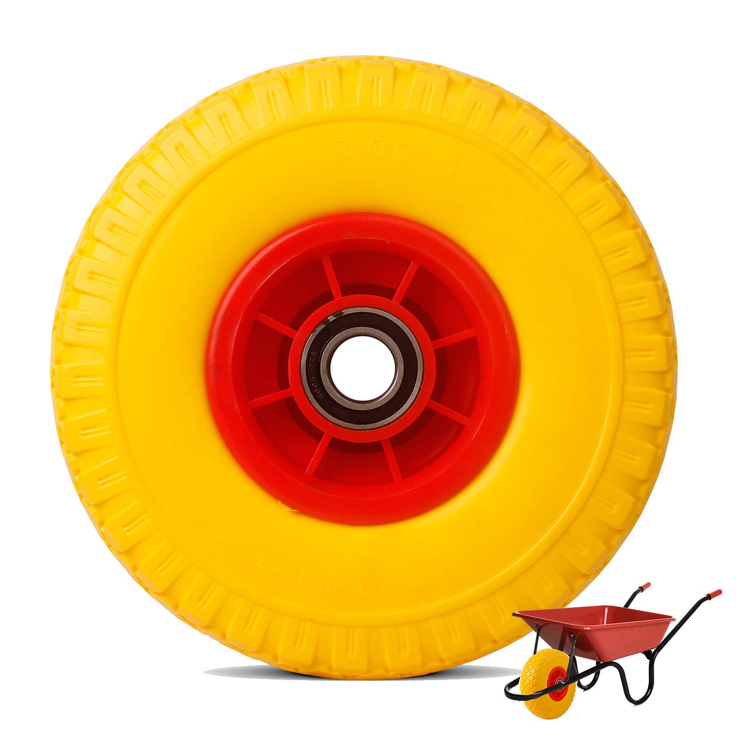 Everbest4u 260 mm Puncture Proof wheelbarrow wheels, yellow, Tire 3.00-4, Replacement Tyre for private use in home & garden