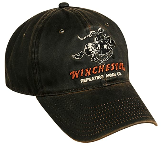 Amazon.com  Winchester Dark Brown Weathered Cotton Cap w  Repeating ... 5a36b949630b