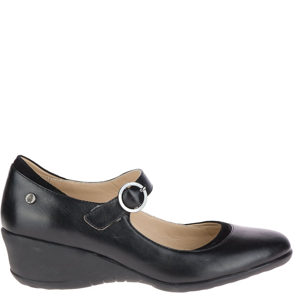 Hush Puppies Women's Odell Mary Jane Flat, Black Leather, 06.5 M US