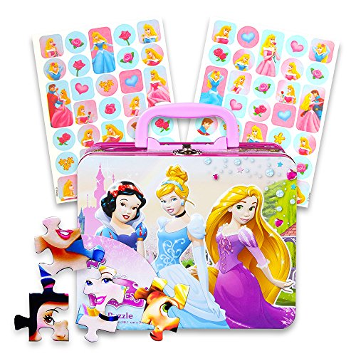 Disney Princess Lunch Box Activity Set -- Disney Princess Tin Box with Handle, 48 Pc Puzzle and Cinderella Stickers (Lunch ()